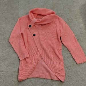 Unbranded coral cowl neck sweater with buttons
